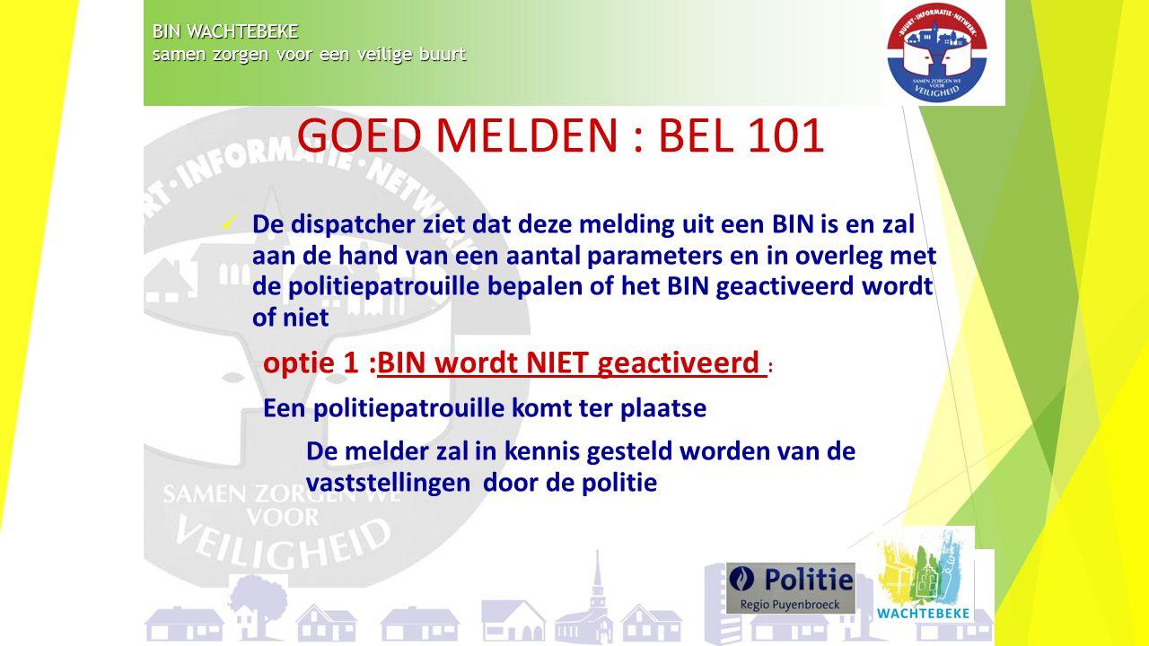 GOED MELDEN : BEL 101 optie 1 :BIN wordt NIET geactiveerd :