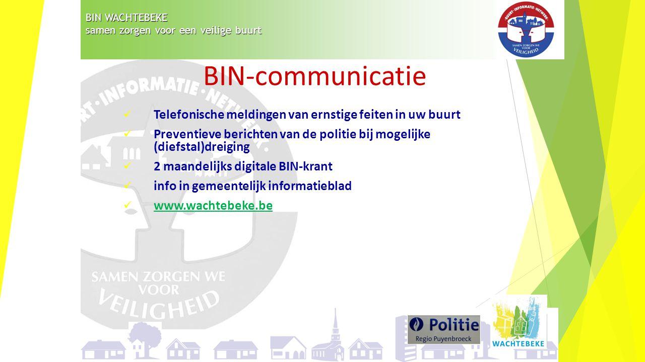 BIN WACHTEBEKE samen zorgen voor een veilige buurt. BIN-communicatie. Telefonische meldingen van ernstige feiten in uw buurt.