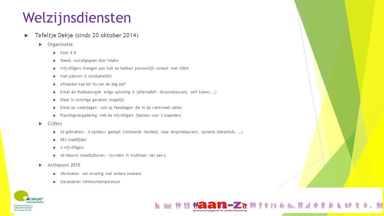 Welzijnsdiensten Tafeltje Dekje (sinds 20 oktober 2014) Organisatie