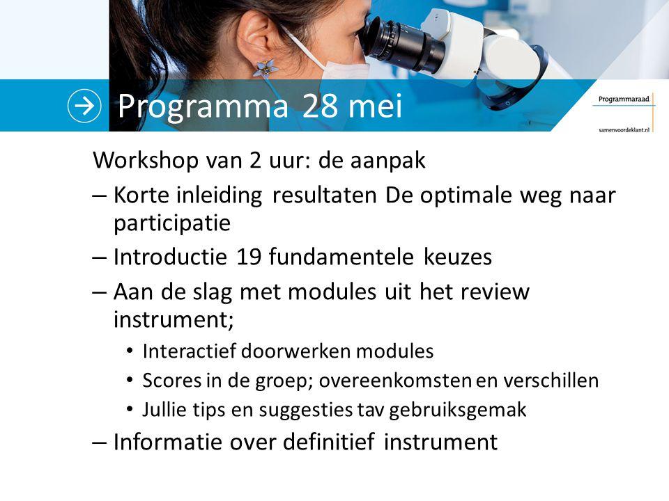 Programma 28 mei Workshop van 2 uur: de aanpak