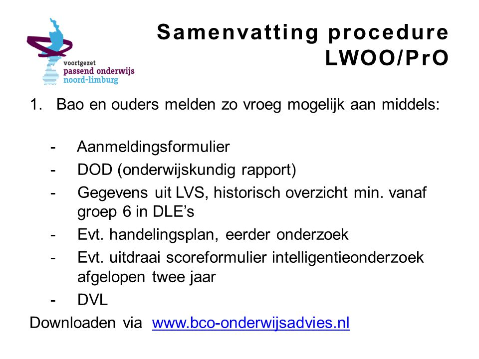 Samenvatting procedure LWOO/PrO