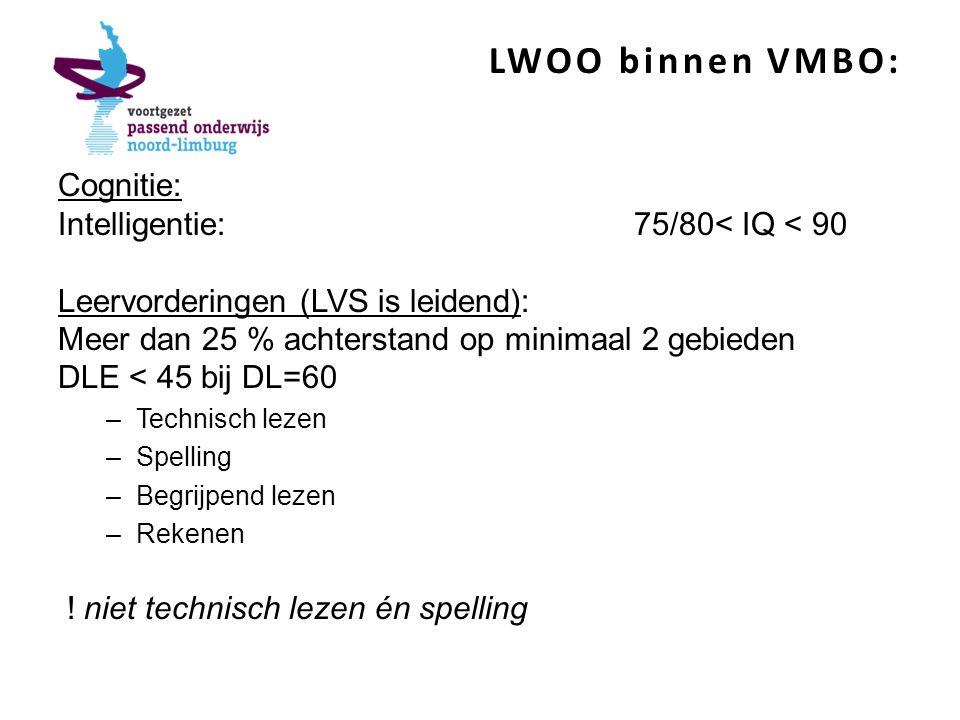 LWOO binnen VMBO: Cognitie: Intelligentie: 75/80< IQ < 90