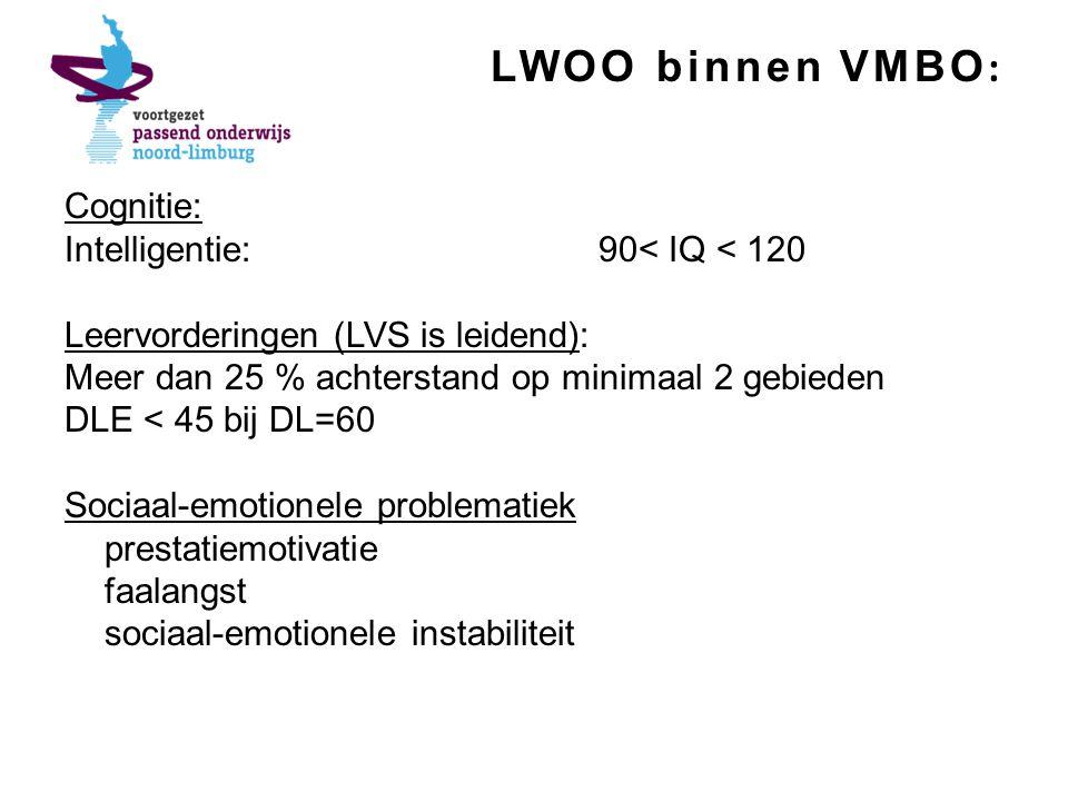 LWOO binnen VMBO: Cognitie: Intelligentie: 90< IQ < 120