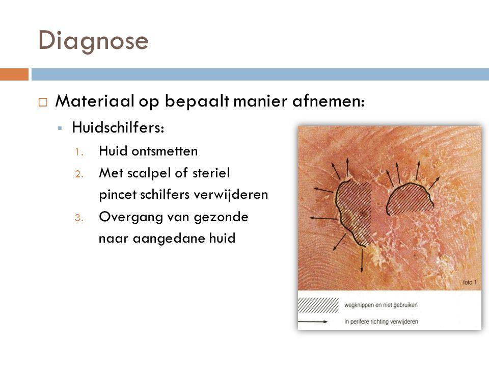 Diagnose Materiaal op bepaalt manier afnemen: Huidschilfers: