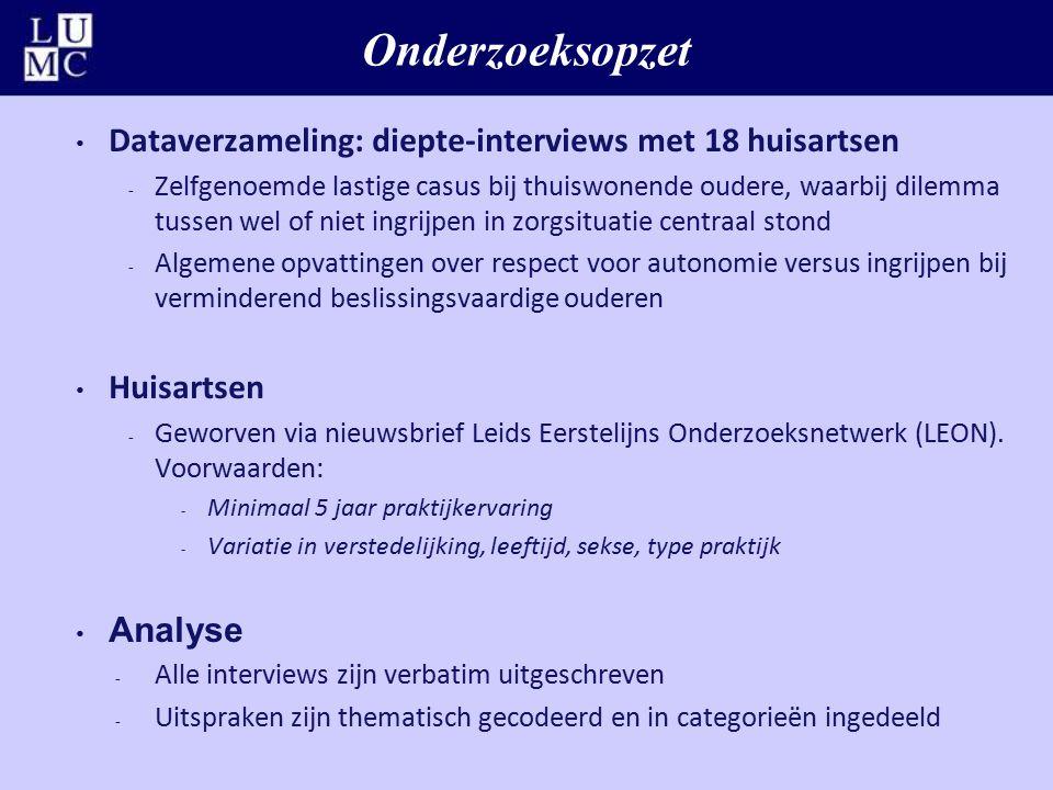 Onderzoeksopzet Dataverzameling: diepte-interviews met 18 huisartsen