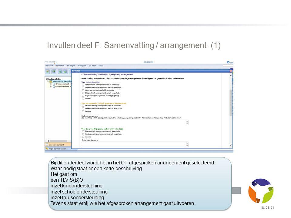 Invullen deel F: Samenvatting / arrangement (1)