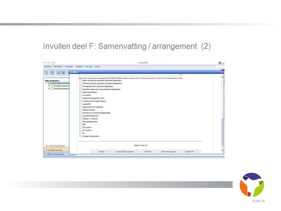 Invullen deel F: Samenvatting / arrangement (2)