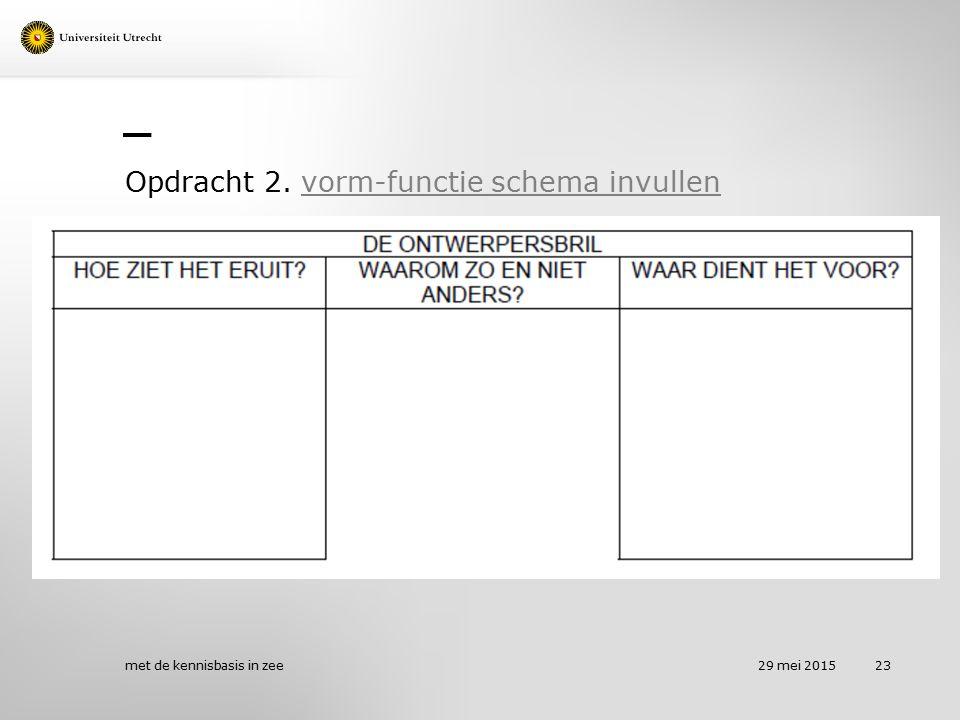 Opdracht 2. vorm-functie schema invullen