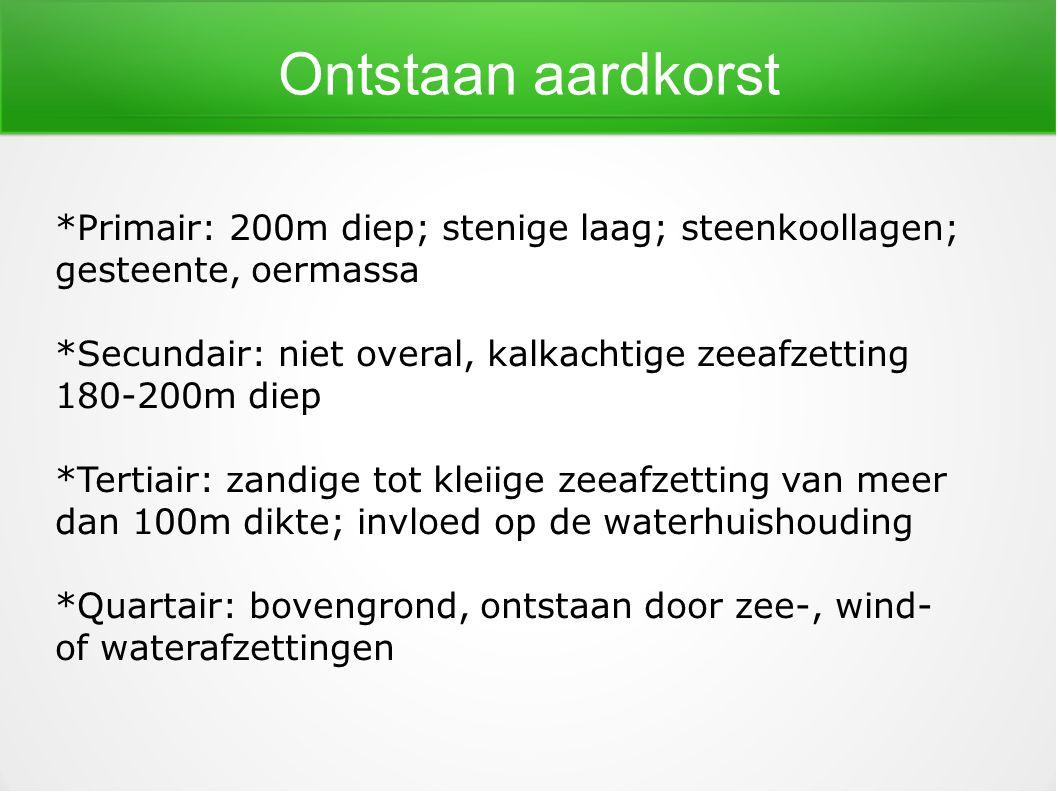 Ontstaan aardkorst *Primair: 200m diep; stenige laag; steenkoollagen;