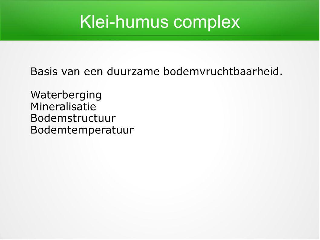 Klei-humus complex Basis van een duurzame bodemvruchtbaarheid.