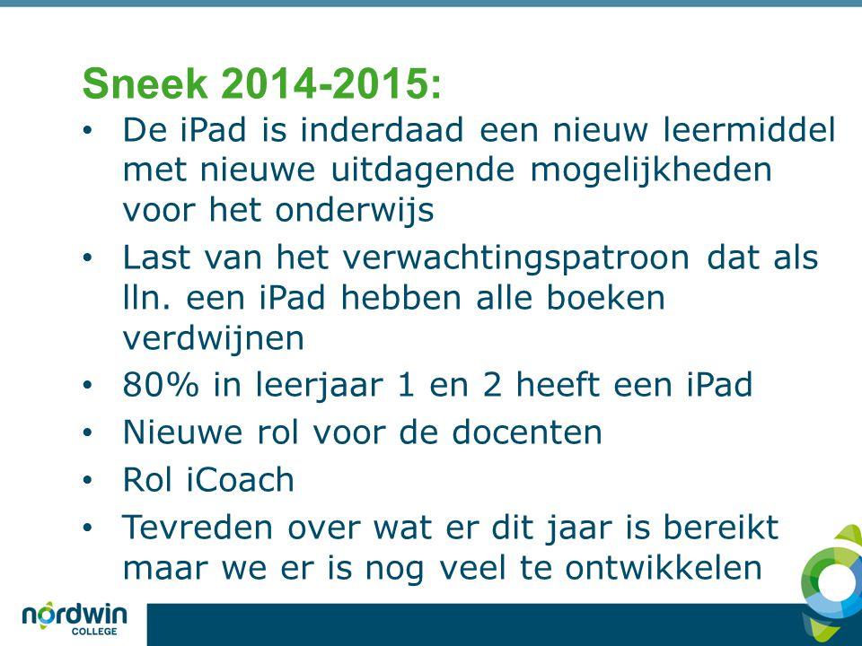 Sneek 2014-2015: De iPad is inderdaad een nieuw leermiddel met nieuwe uitdagende mogelijkheden voor het onderwijs.