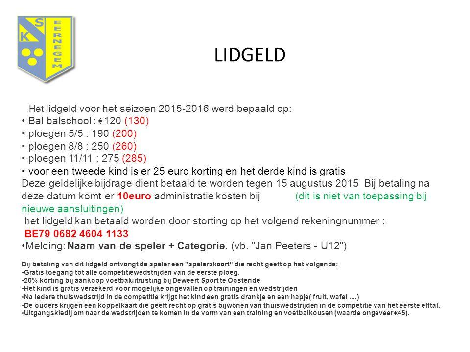 LIDGELD Bal balschool : €120 (130) ploegen 5/5 : 190 (200)