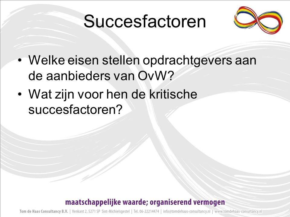 Succesfactoren Welke eisen stellen opdrachtgevers aan de aanbieders van OvW.