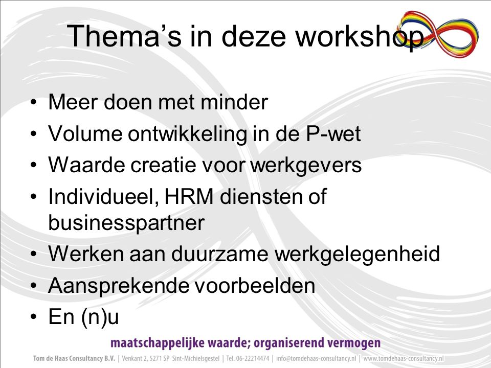 Thema's in deze workshop
