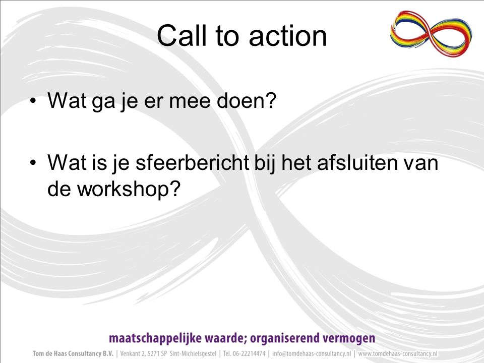 Call to action Wat ga je er mee doen