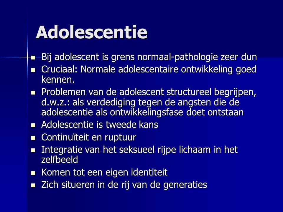 Adolescentie Bij adolescent is grens normaal-pathologie zeer dun