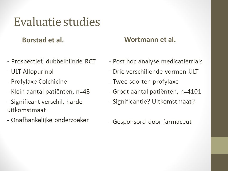 Evaluatie studies Borstad et al. Wortmann et al.