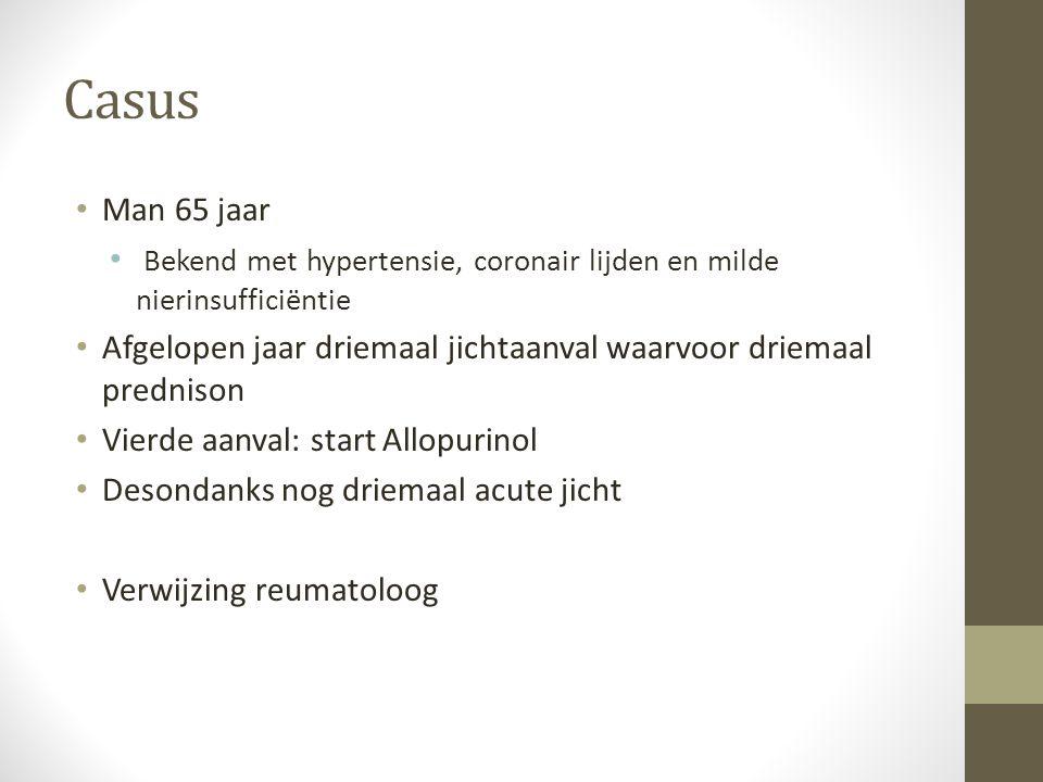 Casus Man 65 jaar. Bekend met hypertensie, coronair lijden en milde nierinsufficiëntie.
