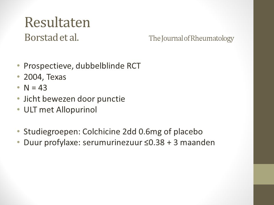 Resultaten Borstad et al. The Journal of Rheumatology