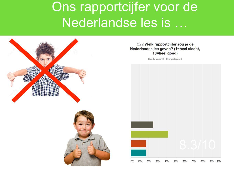 Ons rapportcijfer voor de Nederlandse les is …