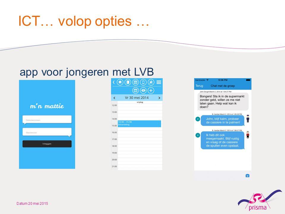 ICT… volop opties … app voor jongeren met LVB Datum 20 mei 2015