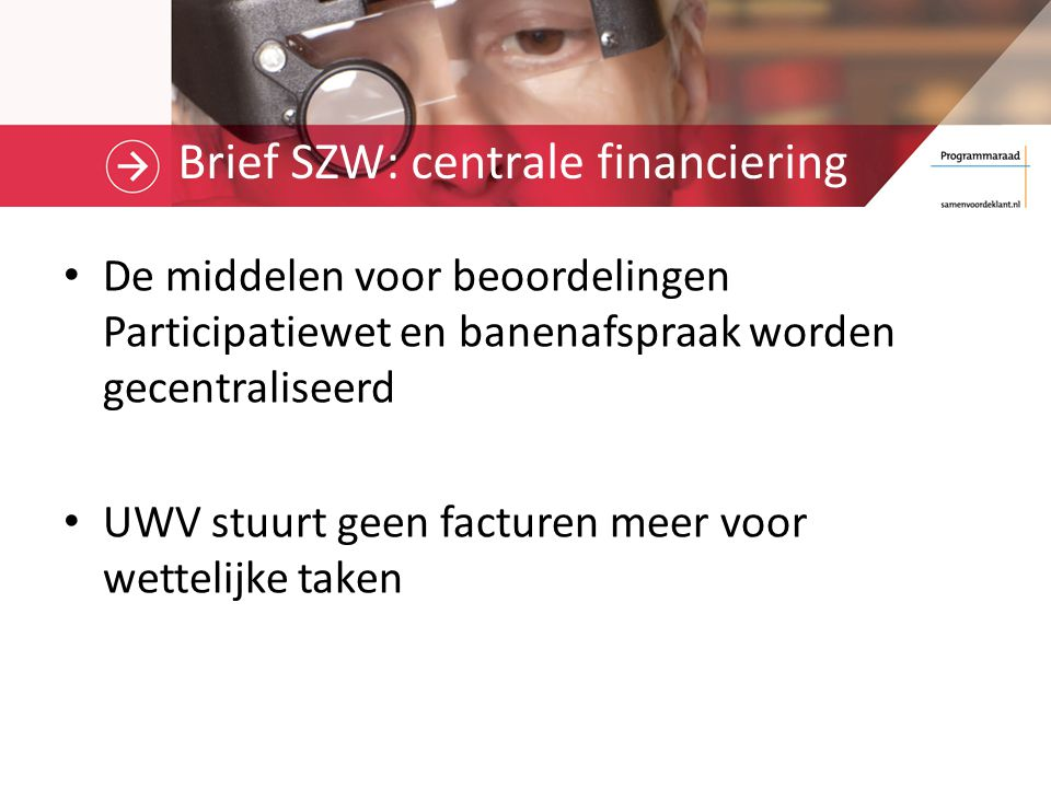 Brief SZW: centrale financiering