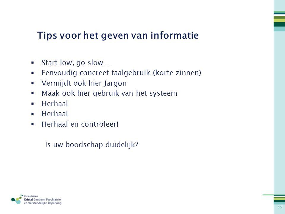 Tips voor het geven van informatie