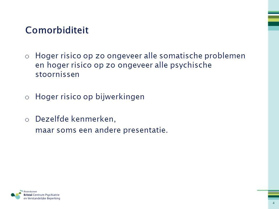 Comorbiditeit Hoger risico op zo ongeveer alle somatische problemen en hoger risico op zo ongeveer alle psychische stoornissen.