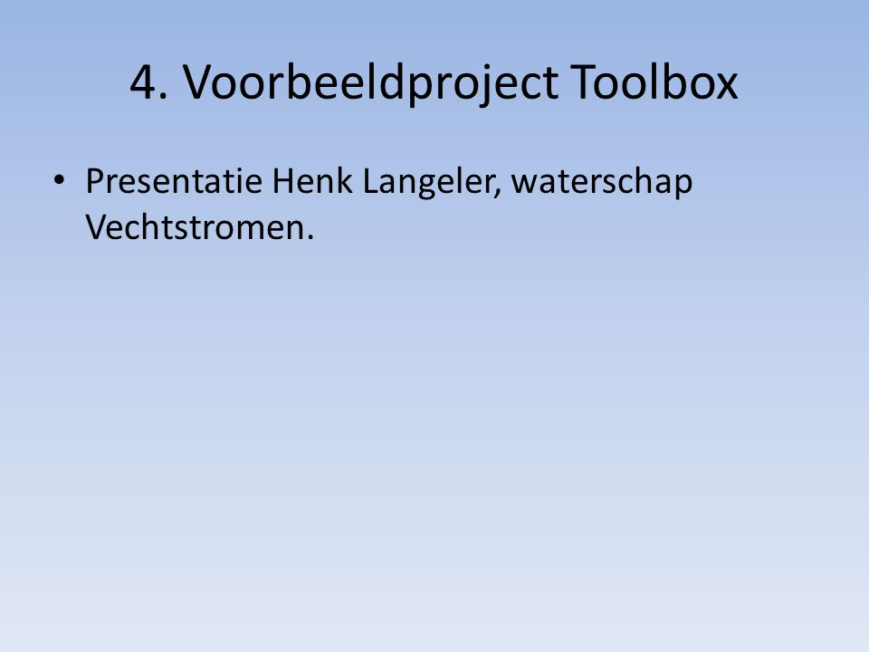 4. Voorbeeldproject Toolbox