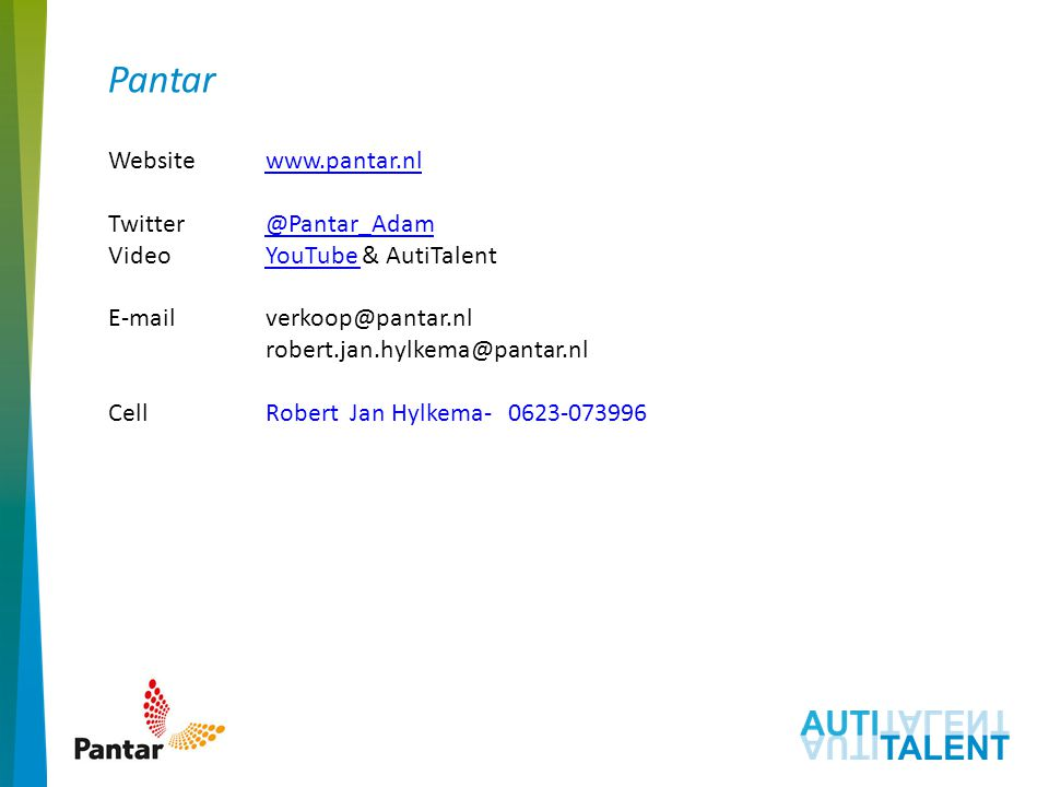 Pantar Website www.pantar.nl Twitter @Pantar_Adam