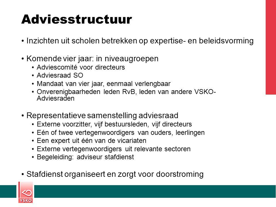 Adviesstructuur Inzichten uit scholen betrekken op expertise- en beleidsvorming. Komende vier jaar: in niveaugroepen.