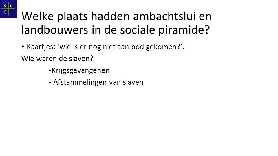 Welke plaats hadden ambachtslui en landbouwers in de sociale piramide