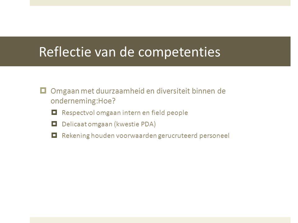 Reflectie van de competenties