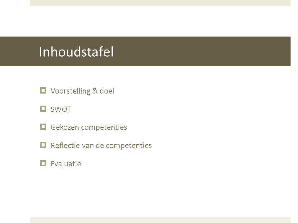 Inhoudstafel Voorstelling & doel SWOT Gekozen competenties