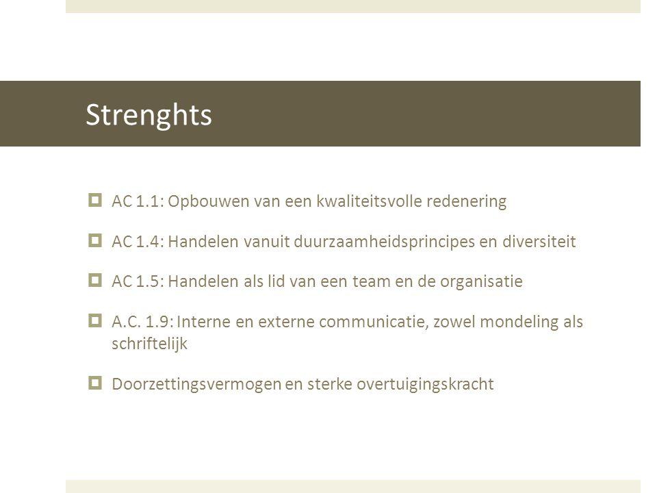 Strenghts AC 1.1: Opbouwen van een kwaliteitsvolle redenering