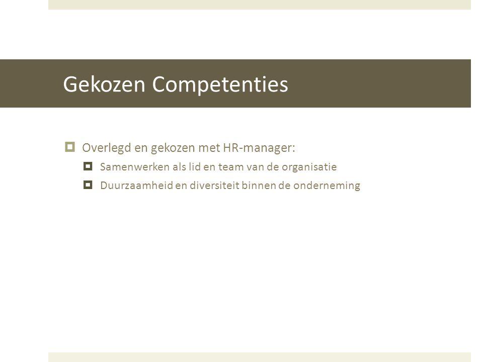 Gekozen Competenties Overlegd en gekozen met HR-manager: