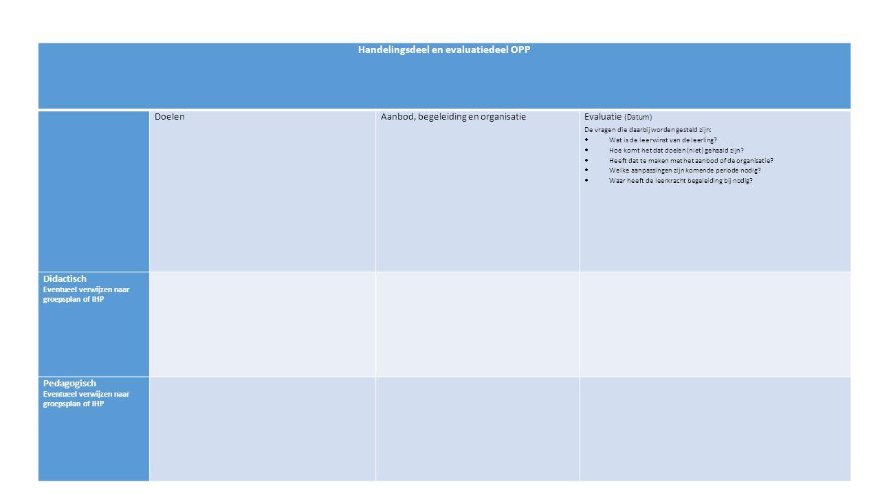 Handelingsdeel en evaluatiedeel OPP