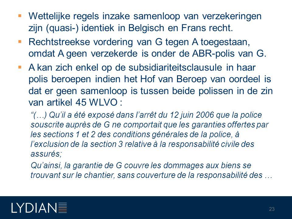 Wettelijke regels inzake samenloop van verzekeringen zijn (quasi-) identiek in Belgisch en Frans recht.