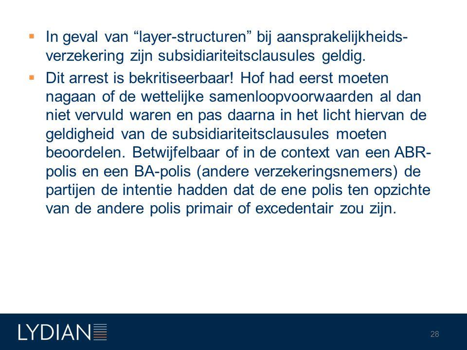 In geval van layer-structuren bij aansprakelijkheids-verzekering zijn subsidiariteitsclausules geldig.