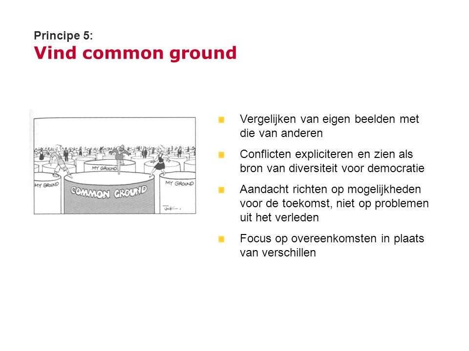 Principe 5: Vind common ground