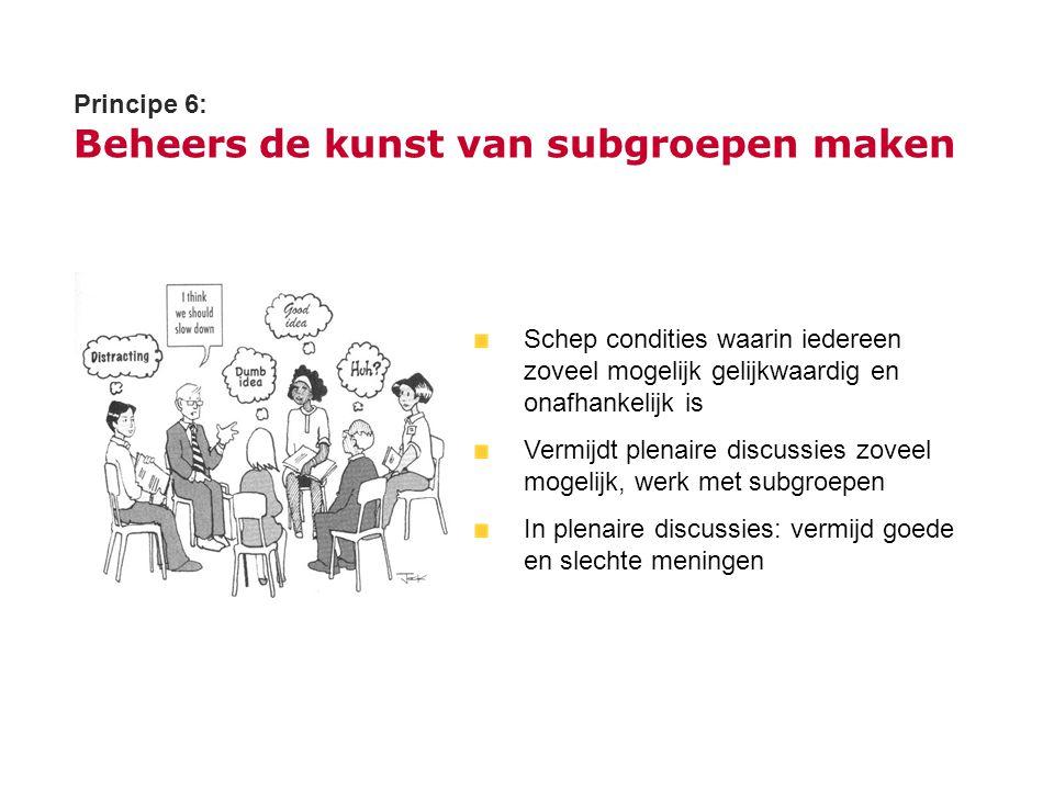 Principe 6: Beheers de kunst van subgroepen maken