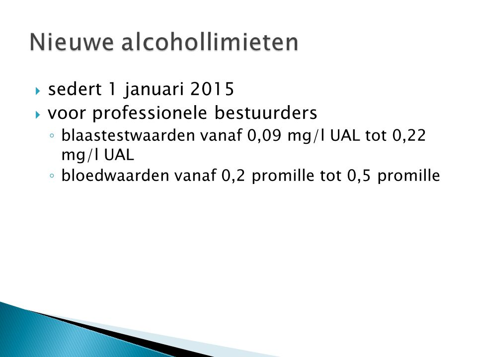 Nieuwe alcohollimieten
