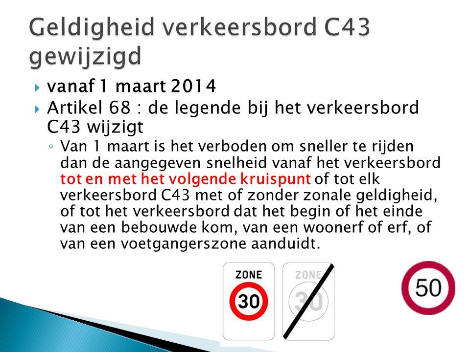 Geldigheid verkeersbord C43 gewijzigd