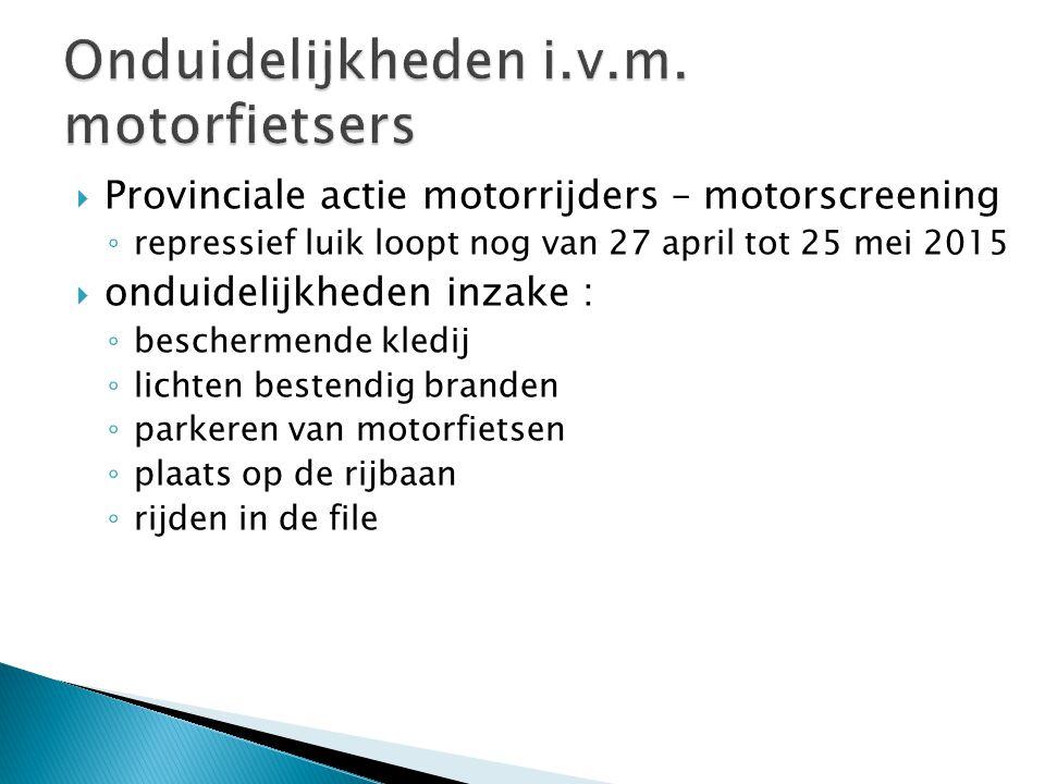Onduidelijkheden i.v.m. motorfietsers