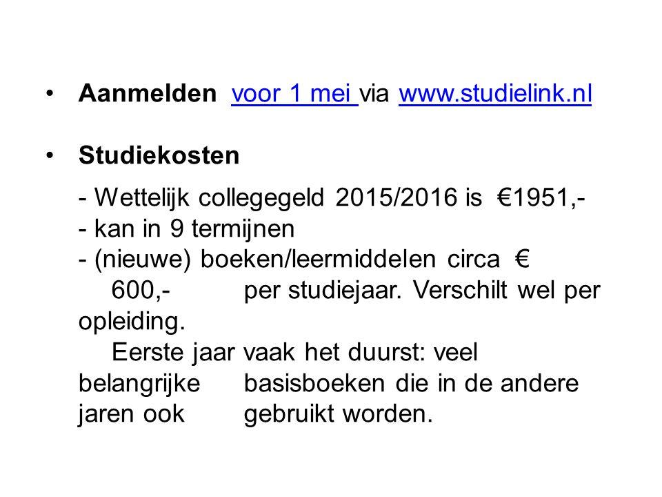 Aanmelden voor 1 mei via www.studielink.nl