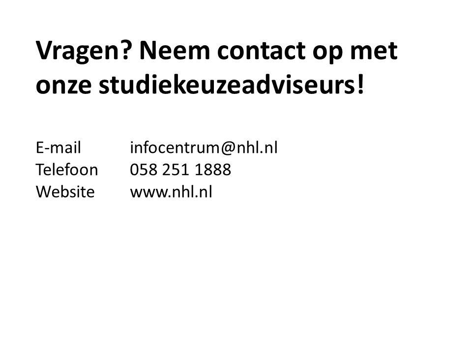 Vragen Neem contact op met onze studiekeuzeadviseurs!