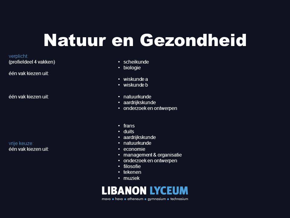 Natuur en Gezondheid verplicht: (profieldeel 4 vakken)