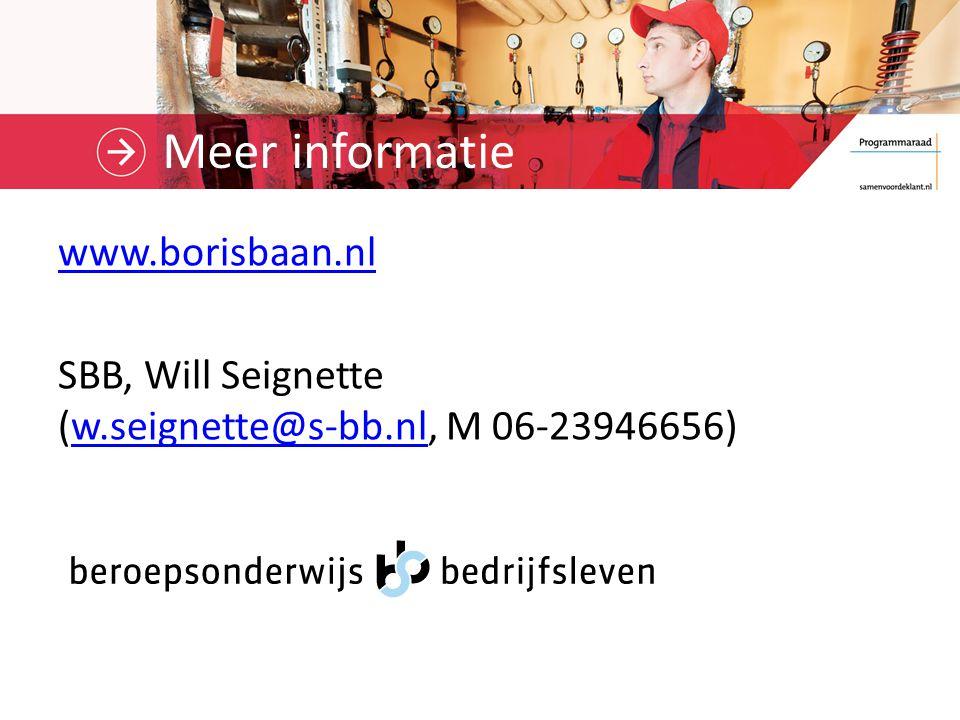 Meer informatie www.borisbaan.nl SBB, Will Seignette (w.seignette@s-bb.nl, M 06-23946656)