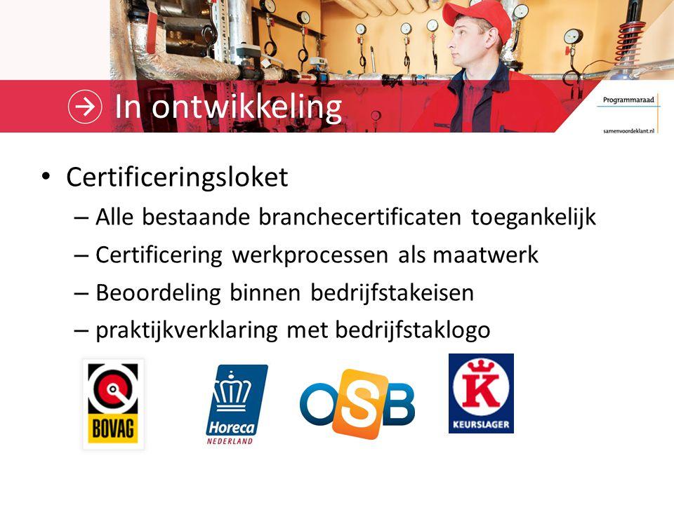 In ontwikkeling Certificeringsloket