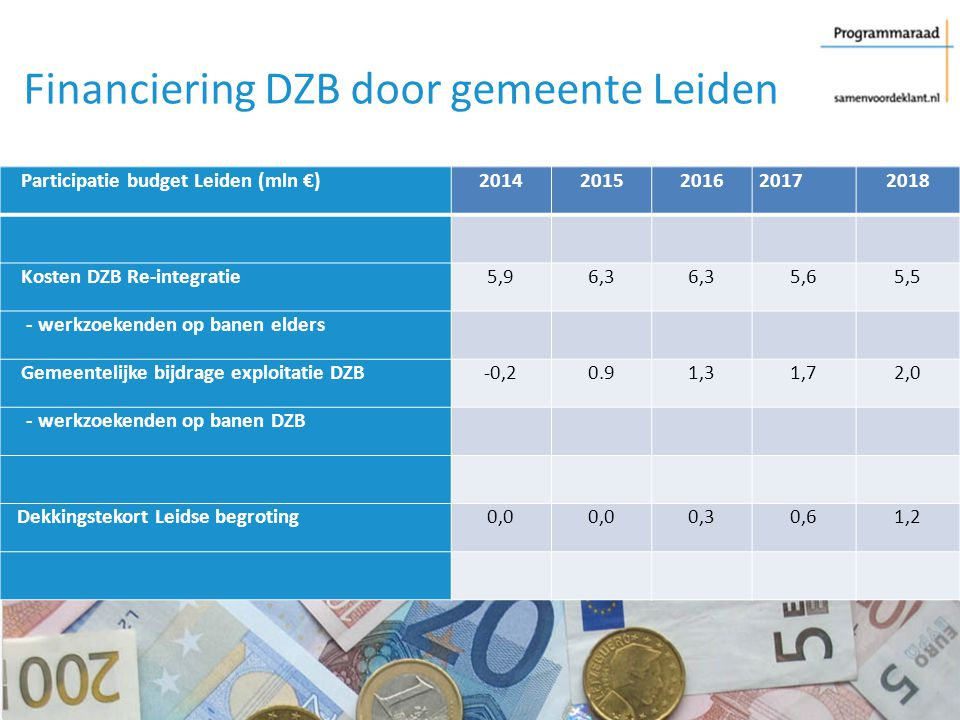 Financiering DZB door gemeente Leiden